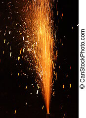 Rocket effect - burning firecracker on New Years Eve