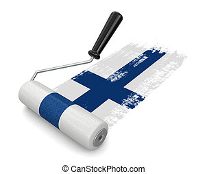 Paint roller with Finnish flag Image with clipping path