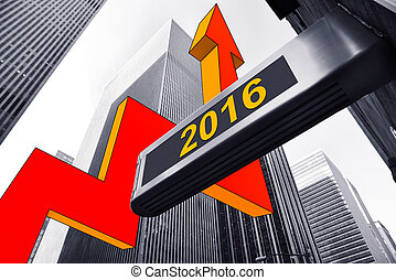 upturn 2016 - illustration of a upturn 2016 concept