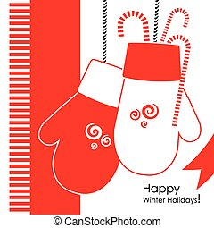 Christmass mittens - Christmas and New Year greeting card...