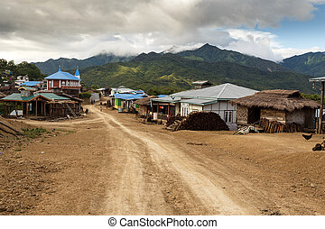 Dirt Road in Chin State, Myanmar - Dirt road leading through...
