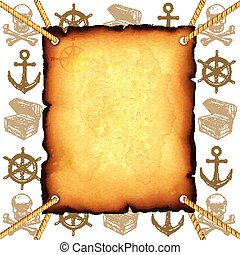 Treasure map and pirates symbols vector background