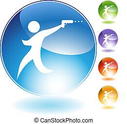 Gun Man Crystal Icon