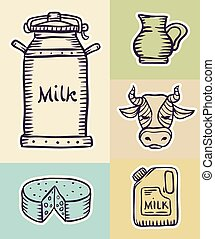 Milk and dairy products hand drawn set draft sketch. Eps8...