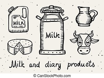 Milk and dairy products draft sketch. Eps8 vector...