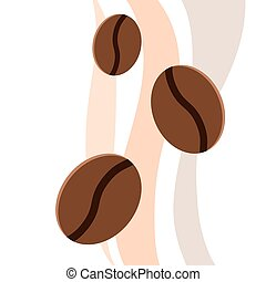 Coffee beans, flat. Vector. Element for design