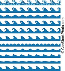 Seamless waves patterns set - Set of 13 blue seamless waves...