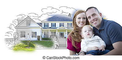 Young Military Family Over House Drawing and Photo...