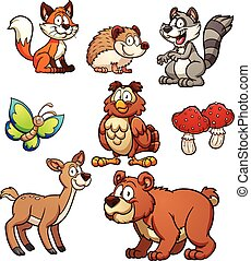 Forest animals - Cartoon forest animals Vector clip art...