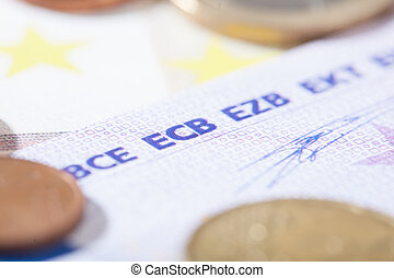 Euro closeup on ECB abbreviation - Closeup on bank notes...