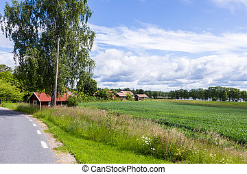 View of an Old Village in Sweden