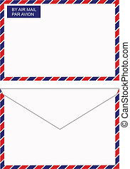 Air mail envelope - Vector back and front views of an air...