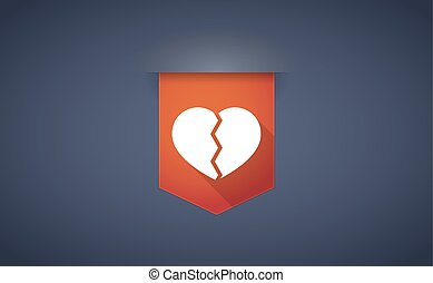 long shadow ribbon icon with a broken heart - Illustration...