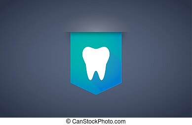 long shadow ribbon icon with a tooth