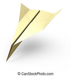 Paper plane falling down