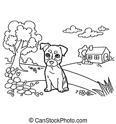 Coloring book with dog and landscap