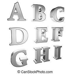 silver alphabet A to I - Silver alphabet A to I on a white...