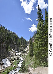 Rocky Mountain stream - A mountain glacial fed stream flows...