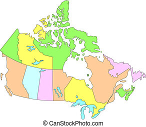 Canada with Provinces - Canadian map 10 provinces and 3...
