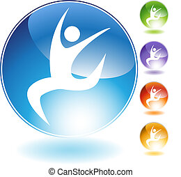 Leaping Dancer Crystal Icon - Leaping dancer isolated on a...