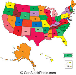 USA 50 States with 2 Letter State NamesUSA 50 States with 2...
