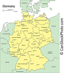 Germany with Administrative Districts and Surrounding Countries