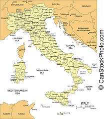 Italy Map with Administrative District and Surrounding...