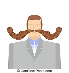 Man with mustache. Barbel. Big and heavy mustache. A middle-aged man in a suit. Vector illustration of a person.