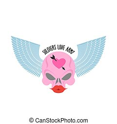 Logo, logo of soldier of love. Pink skull with large red lips and blue wings. Female skull blondes. Vector illustration
