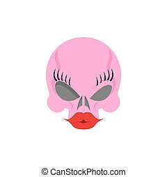 Pink Women skull blondes with big red silicone lips and eye...