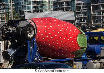 strawberry cement mixer truck