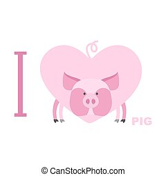 I love pig. Symbol of  heart of a pig. Vector illustration for lovers of farm animals