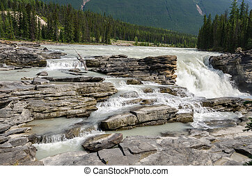 Athabasca River and roks in Canada