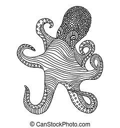 Common octopus (Octopus vulgaris) isolated on white...