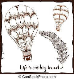 Travel label with feather, typography and balloons