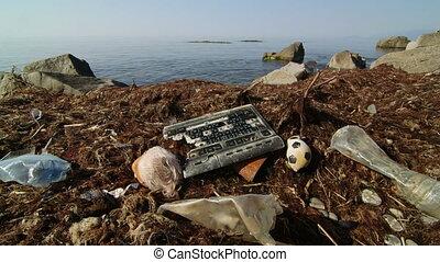 Sea shore plastic pollution