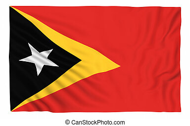 Flag of East Timor , isolated on white
