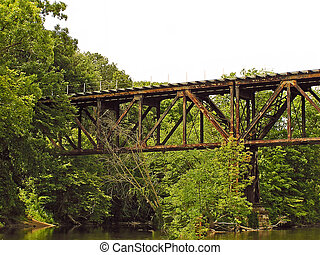 Old Railroad Trestle - A photograph of an old railroad...