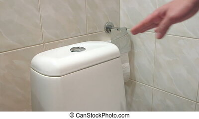 Female hand pushing button flushing toilet