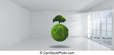 3D grassy globe and tree in empy room with windows - 3D...