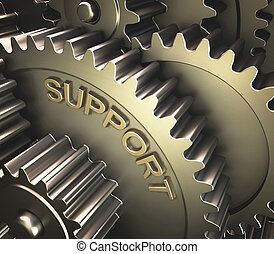 Gear Support - Set of gears with the word support printed on...