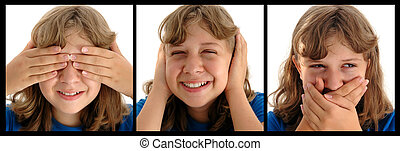 "See No Evil - Funny faced adolescent girl doing ""See no..."