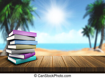 Summer reading - 3D render of a pile of books on a wooden...