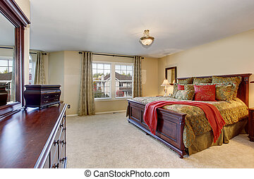 Beautiful bedroom with perfect golden bedding and carpet. -...