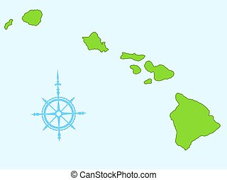 Hawaii - Map of the Hawaii islands All objects are...