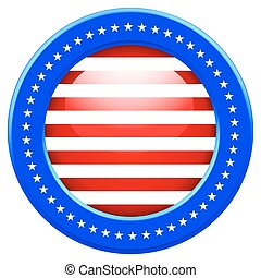 USA button - Round Flag of the United States of America