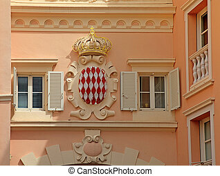 Architectural detail with Monaco coat of arms - Royal Arms...