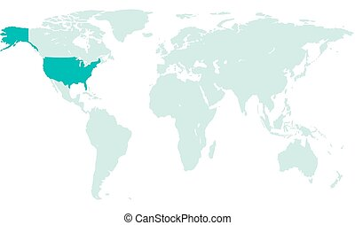 USA on world map - Silhouette map of the USA on the world...