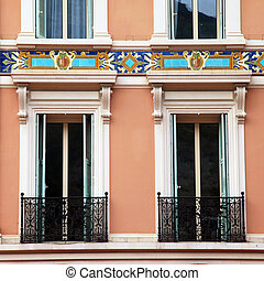 old french shutter windows and balcony, Monaco, Monte Carlo....