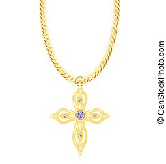Gold Chain with Cross with Diamond. Vector Illustration.